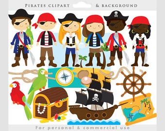 Pirate clipart - pirates clip art, eyepatch, booty, ship, treasure chest, map, parrot, cute, background, for personal and commercial use