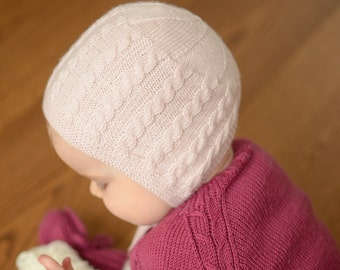 Hand Knit Baby Girl Bonnet, Knitted Newborn Bonnet, Merino Wool Baby Bonnet, Cable Knit Baby Girl Hat, Handmade Newborn Hat, Baby Winter Hat