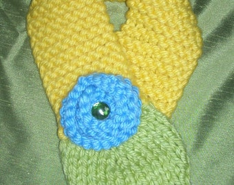 SPRING SALE--Handknit Flower Scarf, Bright and Cheery Sky Blue and Yellow