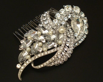 Vintage Style Bridal Rhinestone Hair Comb with Ivory or White Swarovski Pearls or Without Pearls or Only Brooch for Less