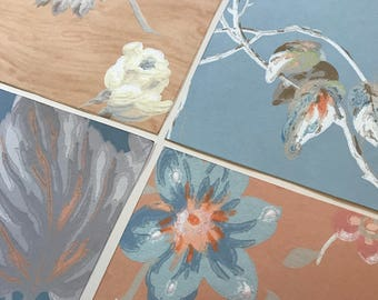 Pack of (4) -  Peach/Blue Floral Vintage Wallpaper Pack, 11x14 size