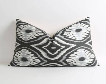 Black, gray and white silk ikat pillow cover Handwoven hand-dyed decorative throw pillow