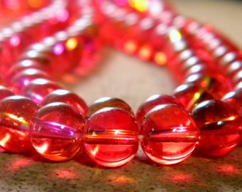 50 translucent glass beads 2 colors - red - 8 mm - 1 PE236