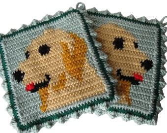 Golden Retriever Pot Holders.  Thick animal crochet hot pad or potholder set. Dog lover gift