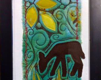 Fawn Grazing mini art quilt