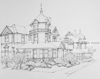 ink drawing beach haven long beach island victorian houses William Cottage Inn
