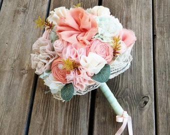 Wedding bouquet, fabric flowers, peach coral mint bouquet, rustic wedding, boho wedding