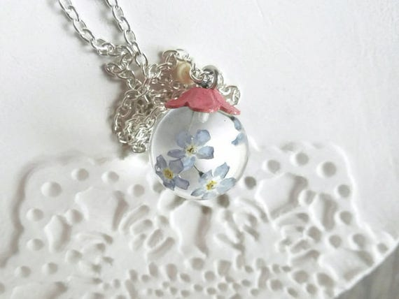 Real flowers necklace mothers day gift globe Forget-me-not pendant Resin necklace Blue flower pendant Blue silver pendant gift for plant mom