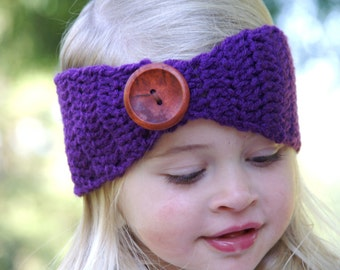 30 COLORS- Little Girl's Crochet Headband/Ear Warmer - Blue/Teal/White/Tan/Cream/Orange/Rust/Maroon/Buttons/Chunky/Adjustable