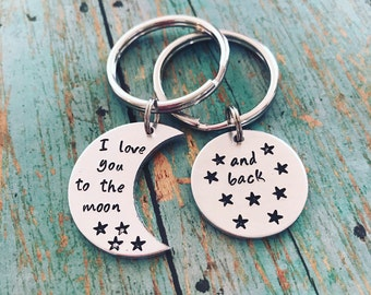 Custom Handstamped Keychain Set, I Love You and To The Moon, Matching couples keychain, boyfriend girlfriend gift, best friend, mothers gift