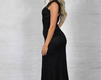WAGW Bella long black lace maxi dress