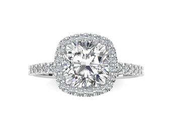 Cushion Cut Engagement Ring / Forever One Moissanite / Halo Diamond Engagement Ring / 14K White Gold Wedding Ring / 1.70 carat Cushion /