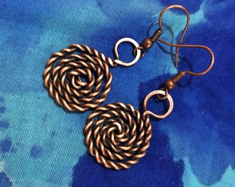 Twisted Copper Spiral Earrings, Patinaed Vintage, celtic, nordic, viking
