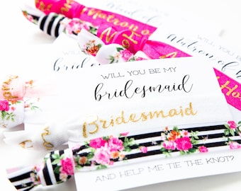 Bridesmaid Proposal Floral Hair Tie Gift | Hot Pink Black White + Gold Floral Hair Tie Bridesmaid Gift, Modern Bridesmaid Proposal Card