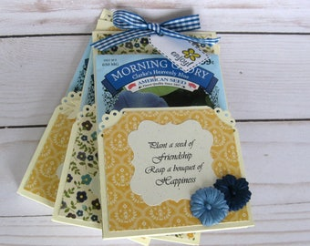 Blue Flower Seed packets Wedding Favor Tags, Gift Tags Set of 3