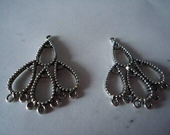 Connectors silver chandelier earrings