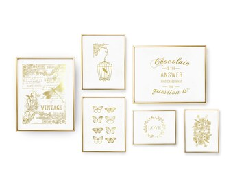 SET of 6 Prints, Vintage Set, Love Flowers Print, Real Gold Foil Print, Chocolate Is The Answer, Home Decor, Typography Art, Bird Cage Print