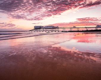 Cromer at Sunrise and Low Tide Summer 2017, Norfolk, Uk Photo Impressionism