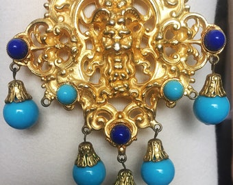 Vintage Onik Sahakian ornate gold colored gothic necklace with blue beads