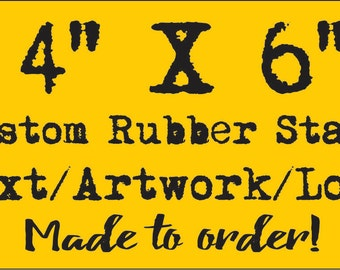 Custom Rubber Stamp Large 4 X 6 inch extra large rubber stamp made to order from your logo & artwork branding a large graphic on products