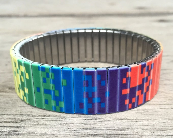 Bracelet PIXEL ART, Stainless Steel, Repurpose Watch Band, Stretch Bracelet, Wrist Band, Sublimation, gift for friends