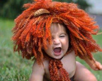 Crochet Pattern Lion Hat & Tail/Lion/Crochet Lion Pattern/ Lion Halloween Costume Pattern/Crochet Pattern/Lion Hat/Crochet Lion Hat Pattern