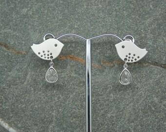 Lovebird and crystal drop earrings, bridal earrings, lovebird earrings with sterling silver posts, bridesmaid earrings, wedding jewellery