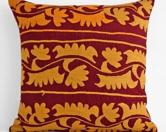 silk suzani pillow cover 20x20, Suzani pillow cover,Uzbek suzani pillows,Suzani Cushion Covers, Embroidered decorative pillows, suzani