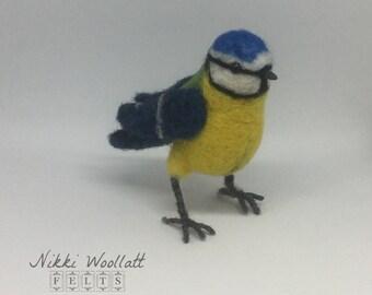 Needlefelt Blue Tit British Garden Bird Fibre Art Sculpture