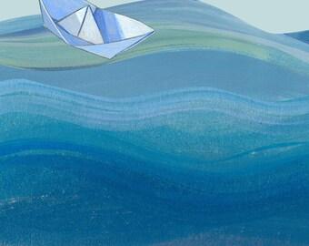 Papierschiff, Papierschiffchen, Druck, Kunstdruck, Wanddekoration, maritim, Kinderzimmer