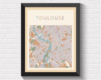 Toulouse Map, Toulouse Poster, Toulouse Print, Map of Toulouse, Toulouse Street Map, Toulouse City Map, Toulouse Road Map, Toulouse Art