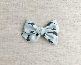 Steel Blue March of the Dinos - Mini Pinwheel Bow - hair clip or baby nylon headband