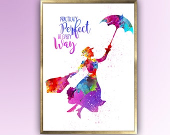 "Mary Poppins, ""Practically Perfect in every Way"" Quote, Wall Art  for Mary Poppins, Gift for Her, Wall Art, Room Decor, Wall Art"