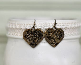 Bronze Heart Tree of Life Earrings- Tree of Life Earrings- Heart Earrings- Bronze Earrings- Boho Earrings- Affordable Earrings- Gift for Her