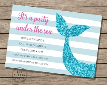 Mermaid bash,under the sea, ocean, summer, birthday party, girl,Invitation,Invite, watercolor, diy, editable,INSTANT DOWNLOAD