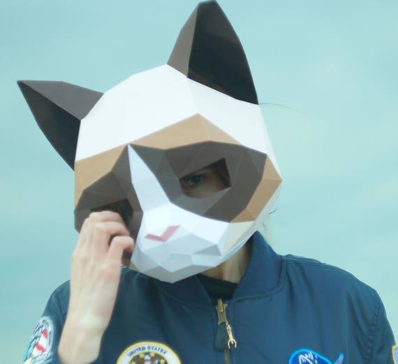 Beautiful Grumpy Cat Mask,DIY Animal Head,Pdf download,Paper Mask,Helmet,3D  AM39