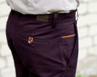 Ink Purple Chinos | Chino Pants / Slacks for Men | Business Casual Menswear