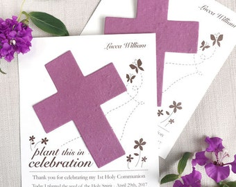 25 Seed Paper Cross Favors - Plantable - Baptism - Christening - Dedication - First Holy Communion - Easter - Your Color Choice