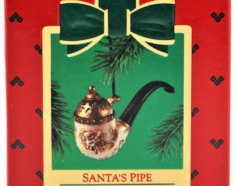 Beautiful Vintage 1985 Santa's Pipe Hallmark Keepsake Christmas Ornament NIB