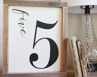 Number Sign, Custom, French Country, Framed Sign, Farmhouse, Rustic, Gallery Wall