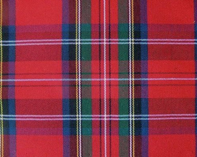Royal Stewart Red Tartan Plaid Fabric UPHOLSTERY Home Decorating CRAFTS