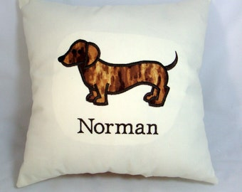 "Personalized ""Your Dachshund's Name"" Embroidered Applique Decorative Dachshund Pillow"