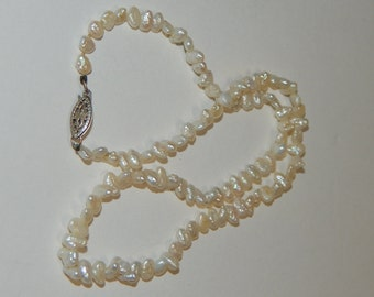 """Vintage Strand of Fresh-water pearls, 14"""" long.  Safety clip #2"""