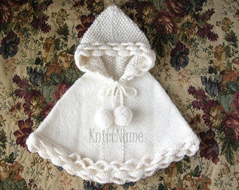 White Baby Poncho, Hand Knit Hooded Alpaca Sweater, Flower Girl Cape, Baby Shower Clothes, Made To Order