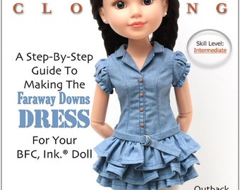 Pixie Faire Liberty Jane Faraway Downs Dress  Doll Clothes Pattern for 18 inch BFC, Ink. Dolls - PDF
