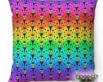 Rainbow Ladybird Cushion