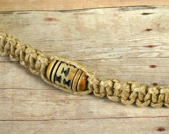 Surfer Phatty Thick Hemp Necklace With Horn Beads Choker