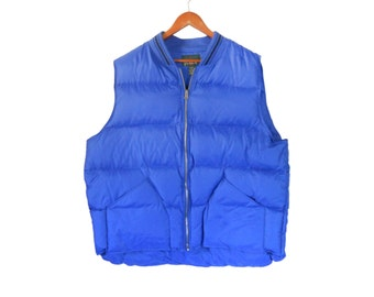 XL Tall Mens Down Vest Puffer Vest Men Vest J Crew Vest Winter Vest Ski Vest Men XL Blue Vest Puffy Vest Puff Vest Retro Ski Wear Outerwear