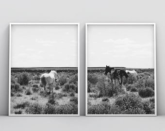 Horse Print, Black and White Photography, Horse Print Wall Art, Wild Horse Photo, Wilderness Print, Equestrian, Printable Art, Set of 2 Art