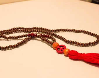 Red Peace Tassel Necklace